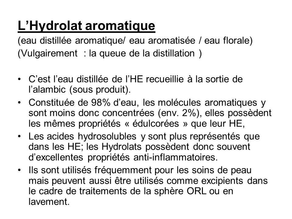 L'Hydrolat aromatique