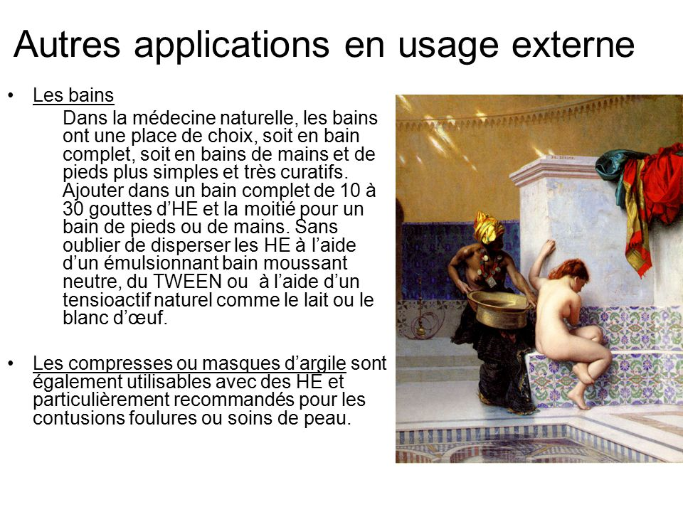 Autres applications en usage externe