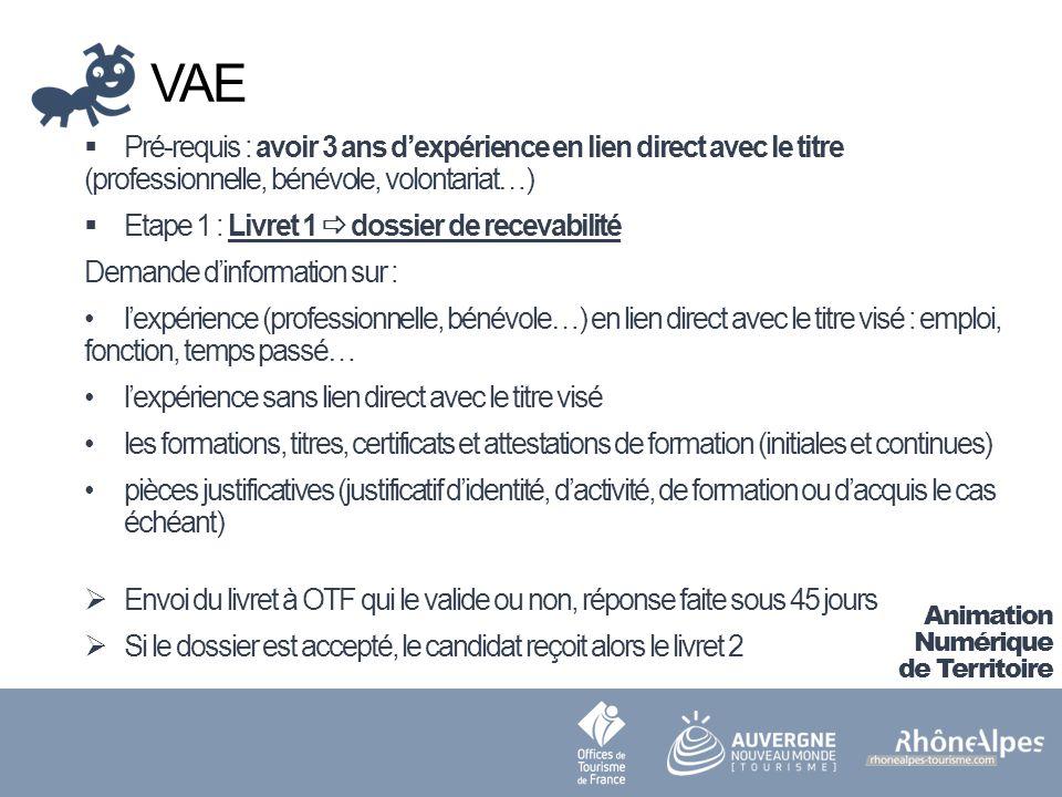 VAE Pré-requis : avoir 3 ans d'expérience en lien direct avec le titre (professionnelle, bénévole, volontariat…)