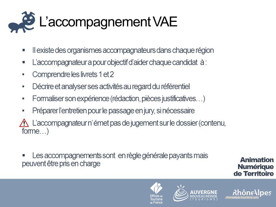 L'accompagnement VAE Il existe des organismes accompagnateurs dans chaque région. L'accompagnateur a pour objectif d'aider chaque candidat à :