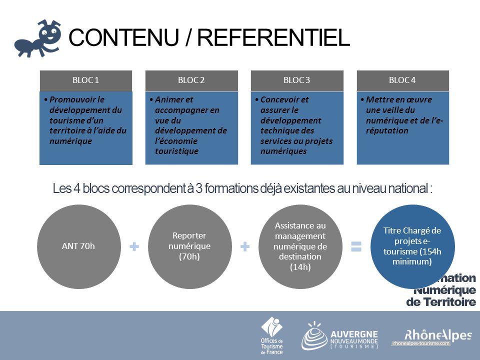 CONTENU / REFERENTIEL BLOC 1. Promouvoir le développement du tourisme d'un territoire à l'aide du numérique.