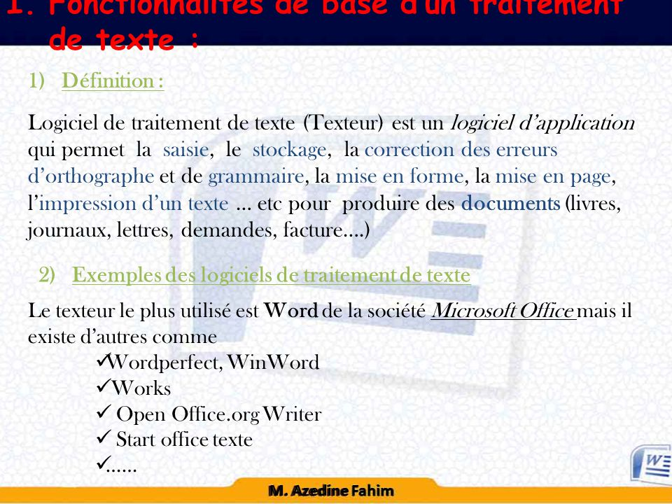 Modules chapitre 1 syst me d exploitation ppt t l charger - Telecharger traitement de texte open office ...