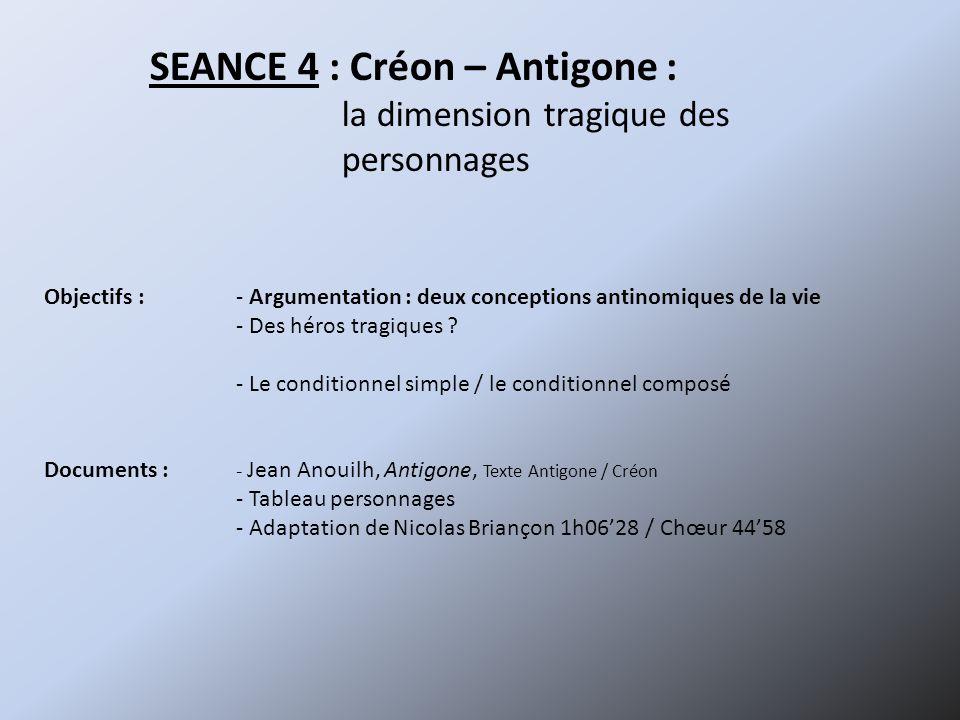 SEANCE 4 : Créon – Antigone :
