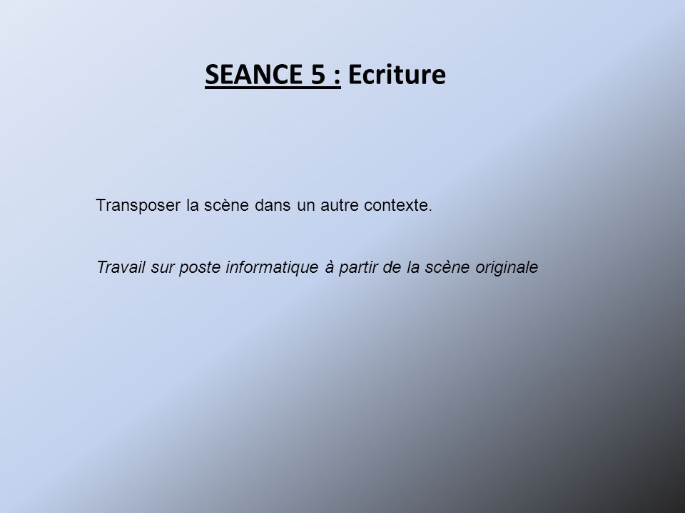SEANCE 5 : Ecriture Transposer la scène dans un autre contexte.