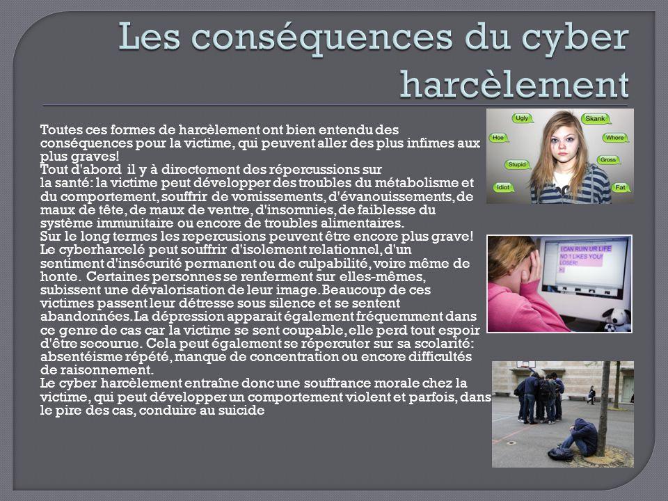 Les conséquences du cyber harcèlement