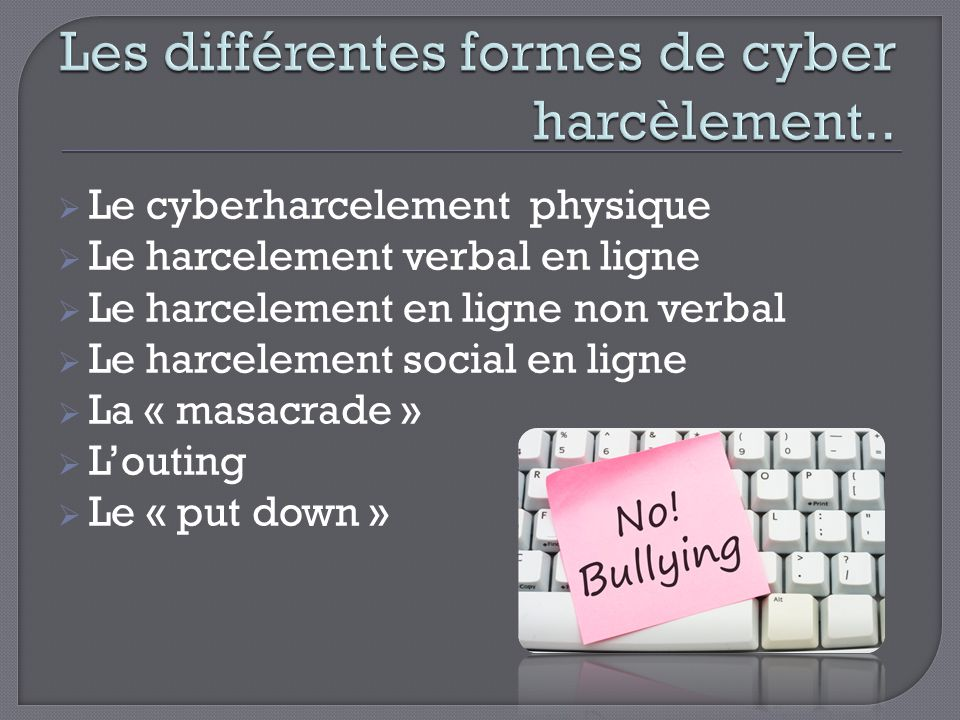 Les différentes formes de cyber harcèlement..