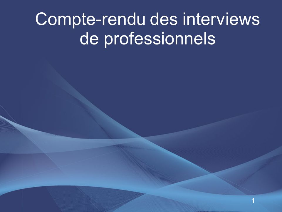 Compte-rendu des interviews de professionnels