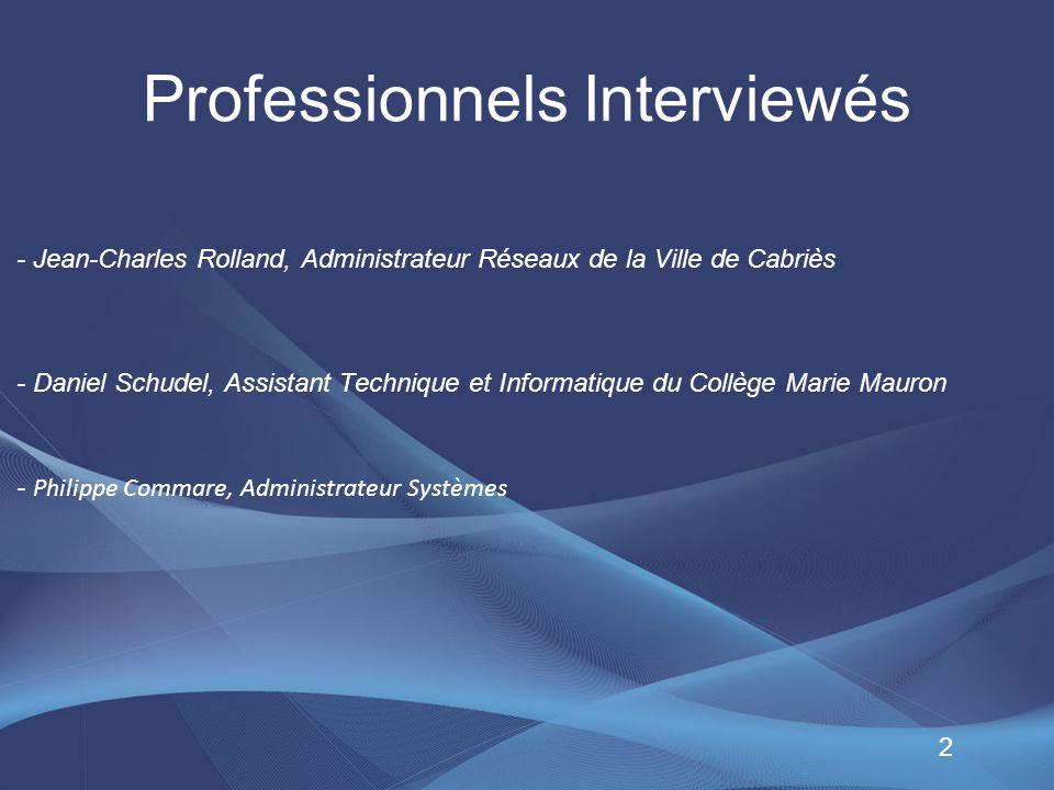 Professionnels Interviewés