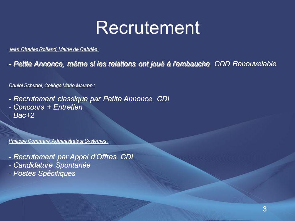 Recrutement Jean-Charles Rolland, Mairie de Cabriès : - Petite Annonce, même si les relations ont joué à l embauche. CDD Renouvelable.