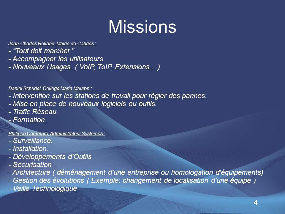 Missions - Tout doit marcher. - Accompagner les utilisateurs.