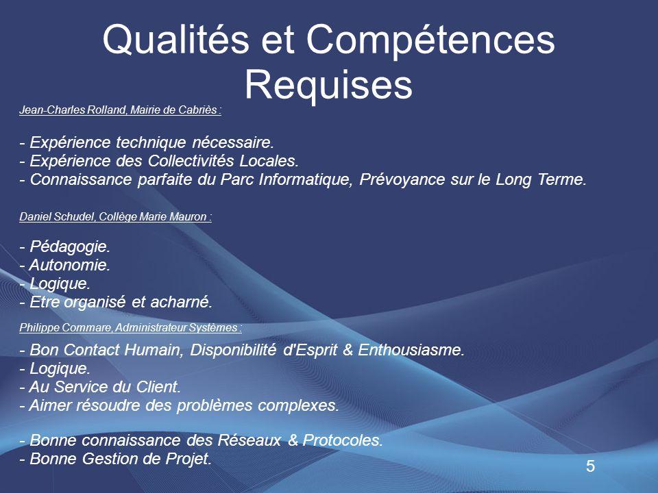 Qualités et Compétences Requises