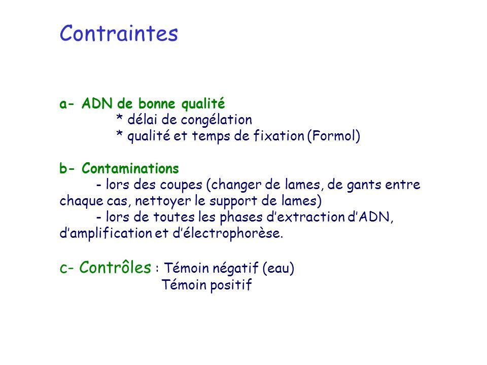 Contraintesa- ADN de bonne qualité * délai de congélation * qualité et temps de fixation (Formol)