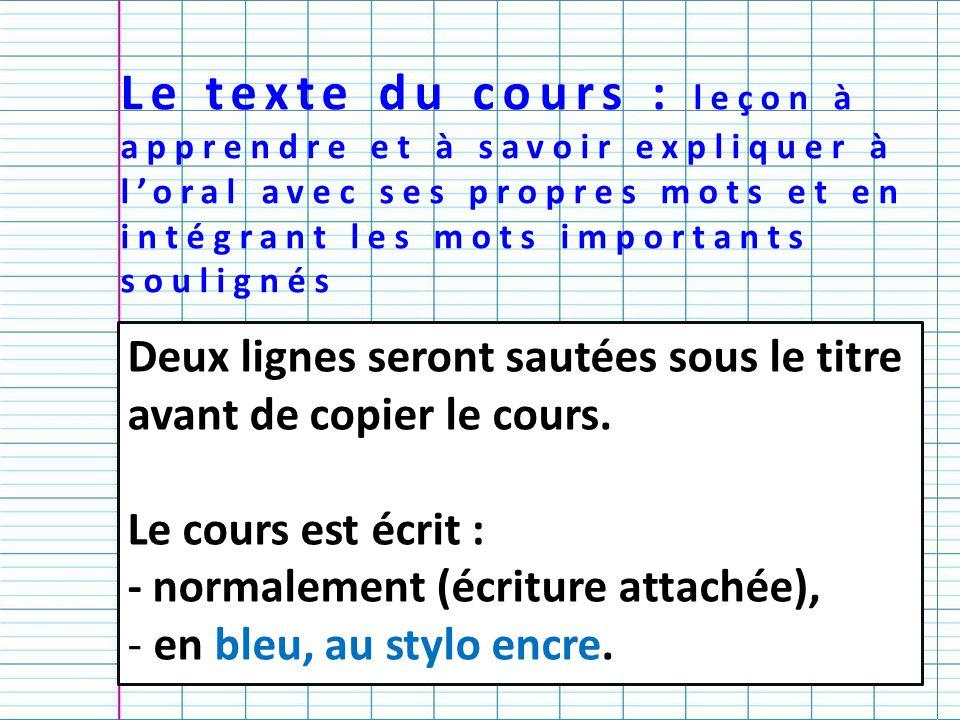Le texte du cours : leçon à apprendre et à savoir expliquer à l'oral avec ses propres mots et en intégrant les mots importants soulignés