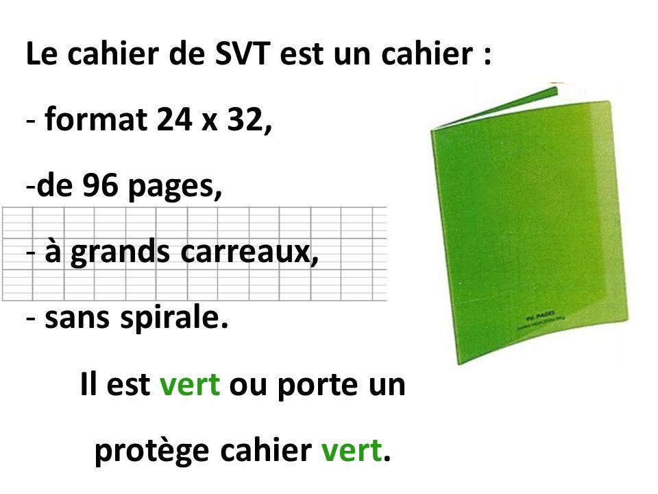 Il est vert ou porte un protège cahier vert.