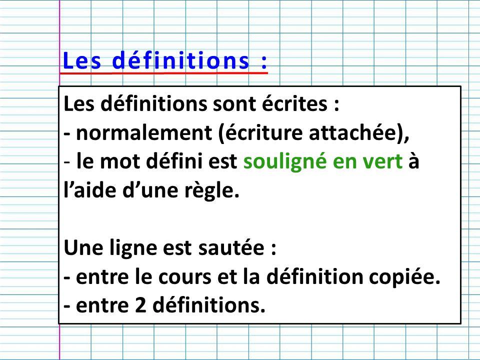 Les définitions : Les définitions sont écrites :