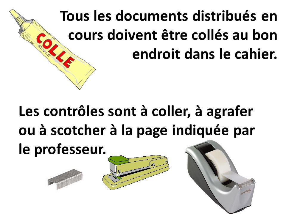 Tous les documents distribués en cours doivent être collés au bon endroit dans le cahier.