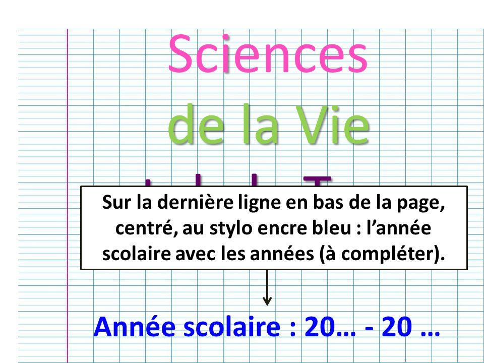 Sciences de la Vie et de la Terre Année scolaire : 20… - 20 …