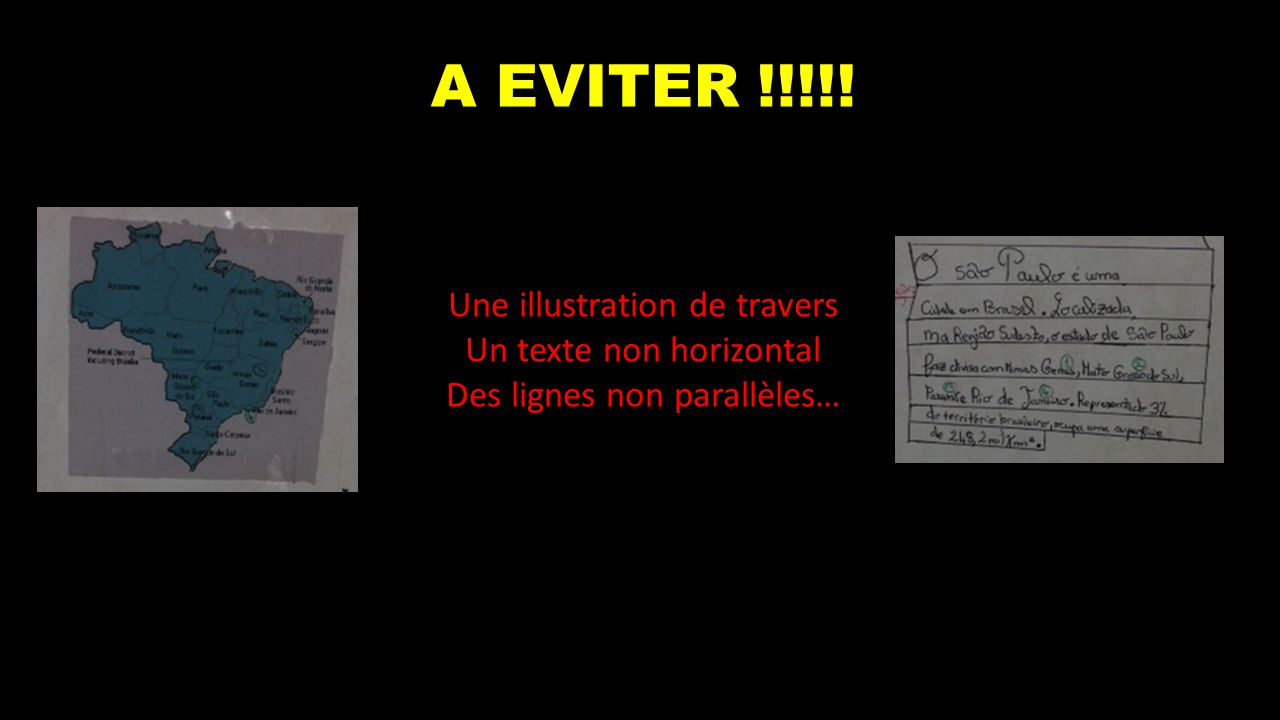 A EVITER !!!!! Une illustration de travers Un texte non horizontal