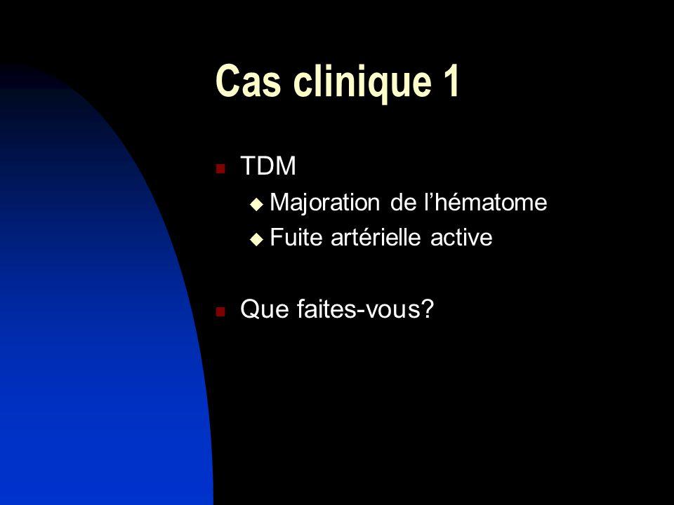 Cas clinique 1 TDM Que faites-vous Majoration de l'hématome