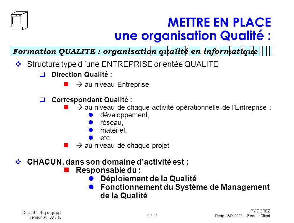 METTRE EN PLACE une organisation Qualité :