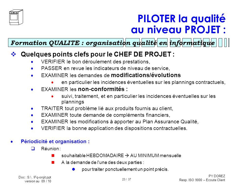 PILOTER la qualité au niveau PROJET :