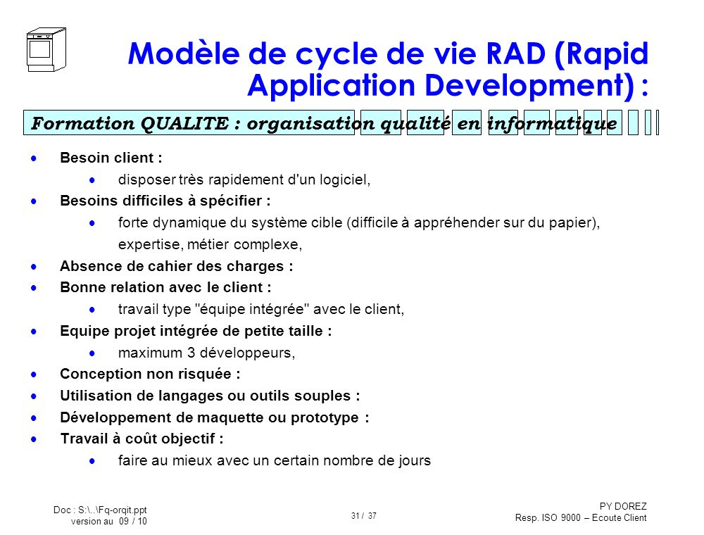 Modèle de cycle de vie RAD (Rapid Application Development) :