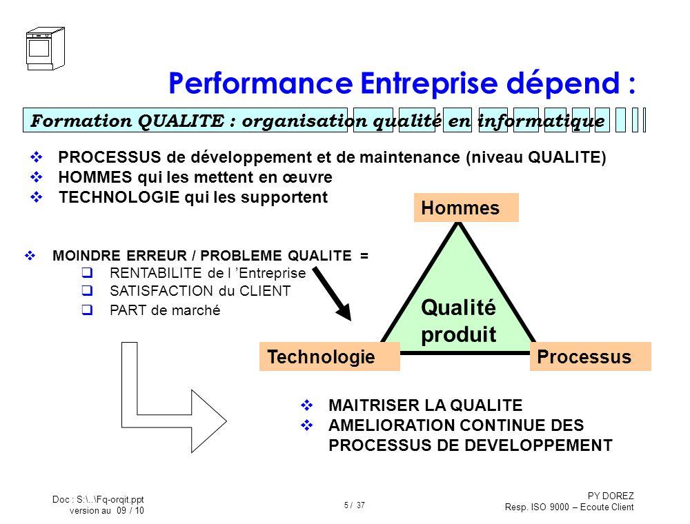Performance Entreprise dépend :
