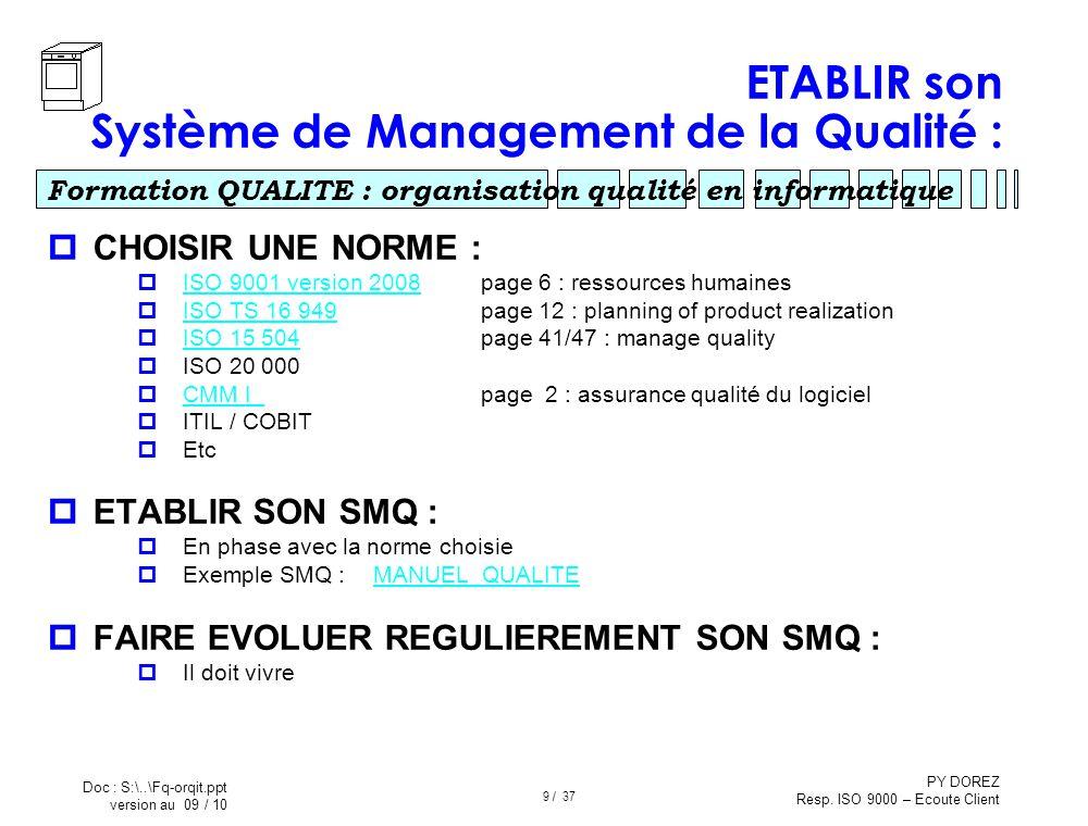 ETABLIR son Système de Management de la Qualité :