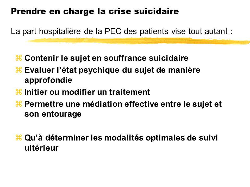Prendre en charge la crise suicidaire La part hospitalière de la PEC des patients vise tout autant :