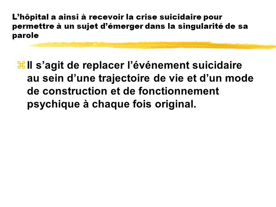 L'hôpital a ainsi à recevoir la crise suicidaire pour permettre à un sujet d'émerger dans la singularité de sa parole