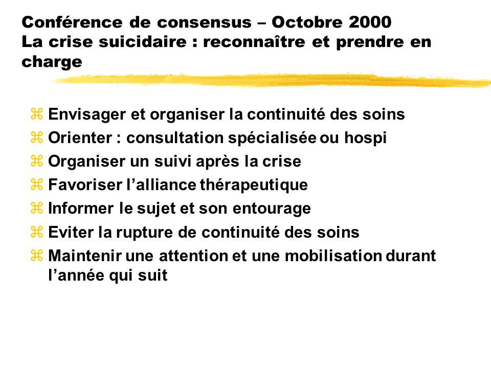 Conférence de consensus – Octobre 2000 La crise suicidaire : reconnaître et prendre en charge