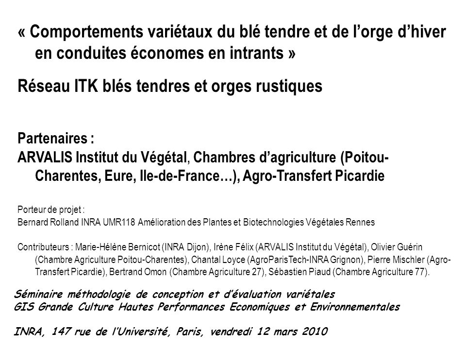 R seau itk bl s tendres et orges rustiques ppt t l charger - Chambre agriculture eure ...