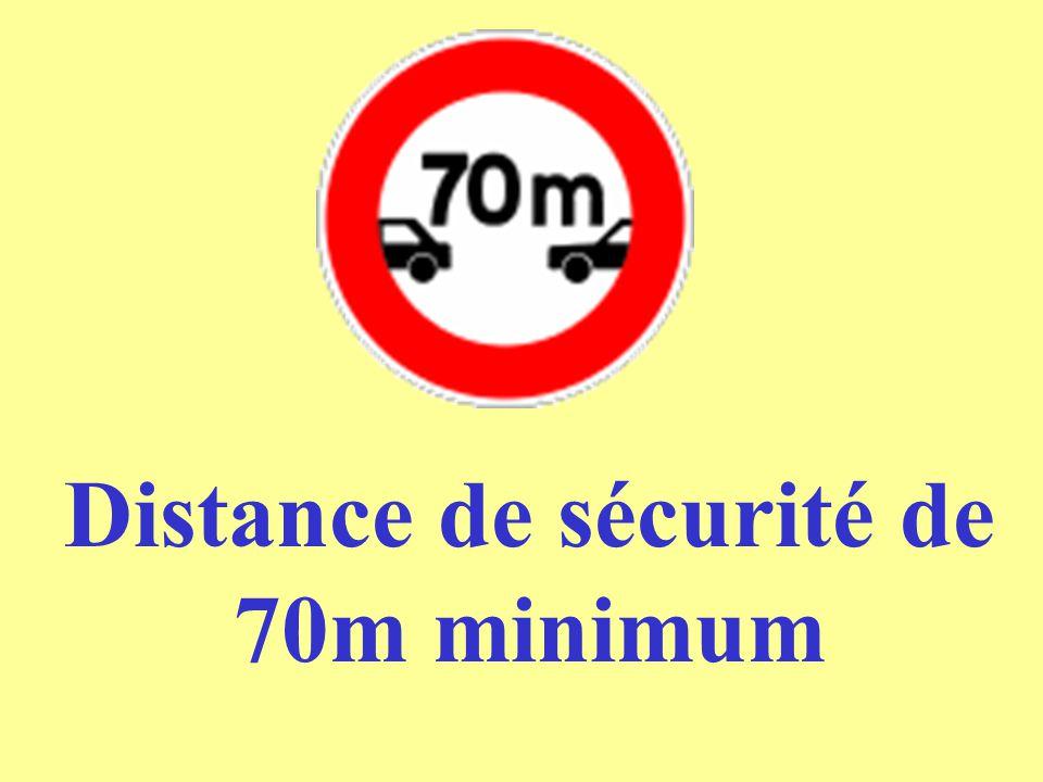 Distance de sécurité de 70m minimum