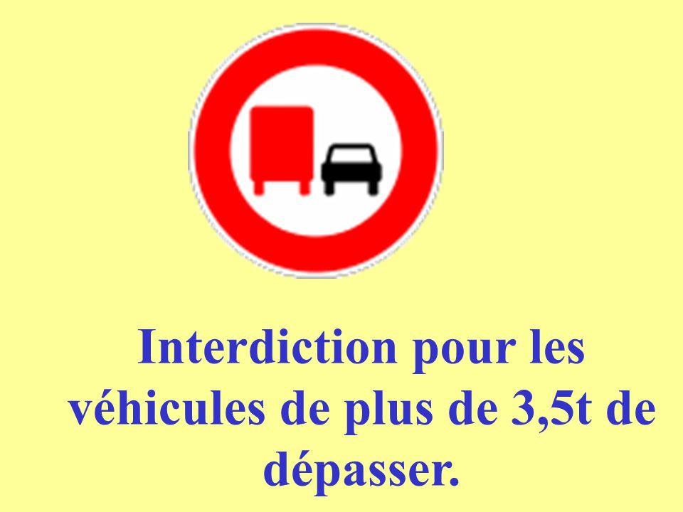 Interdiction pour les véhicules de plus de 3,5t de dépasser.