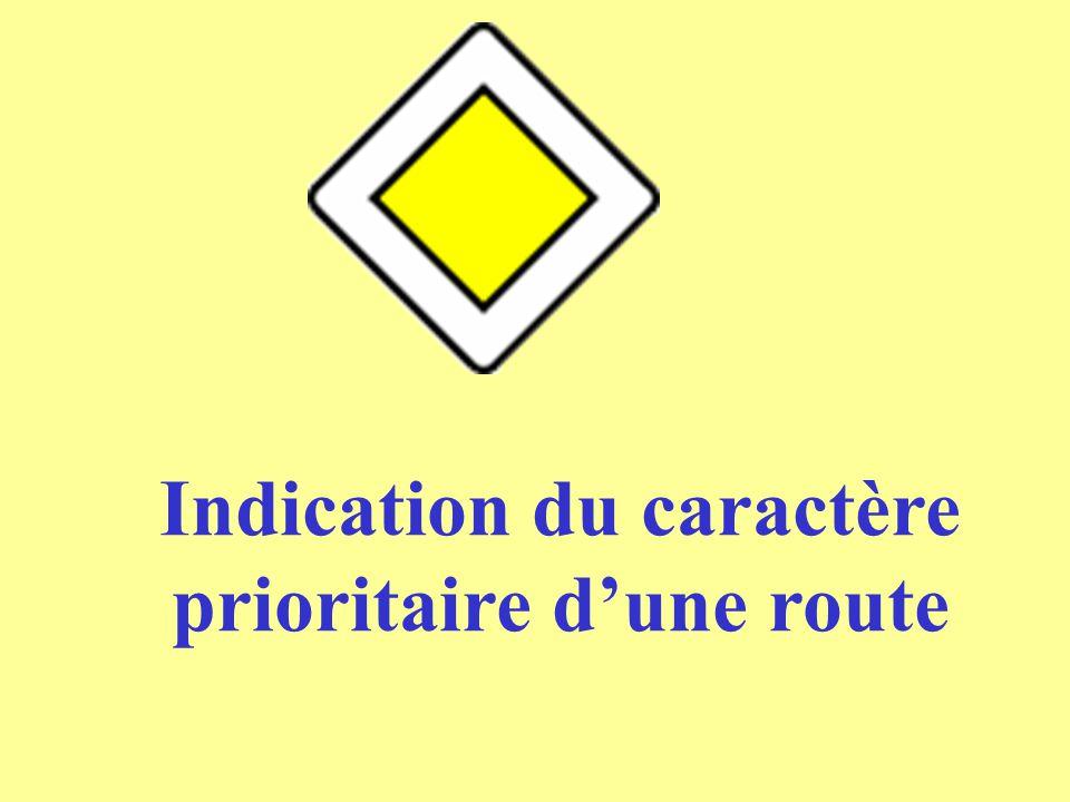 Indication du caractère prioritaire d'une route