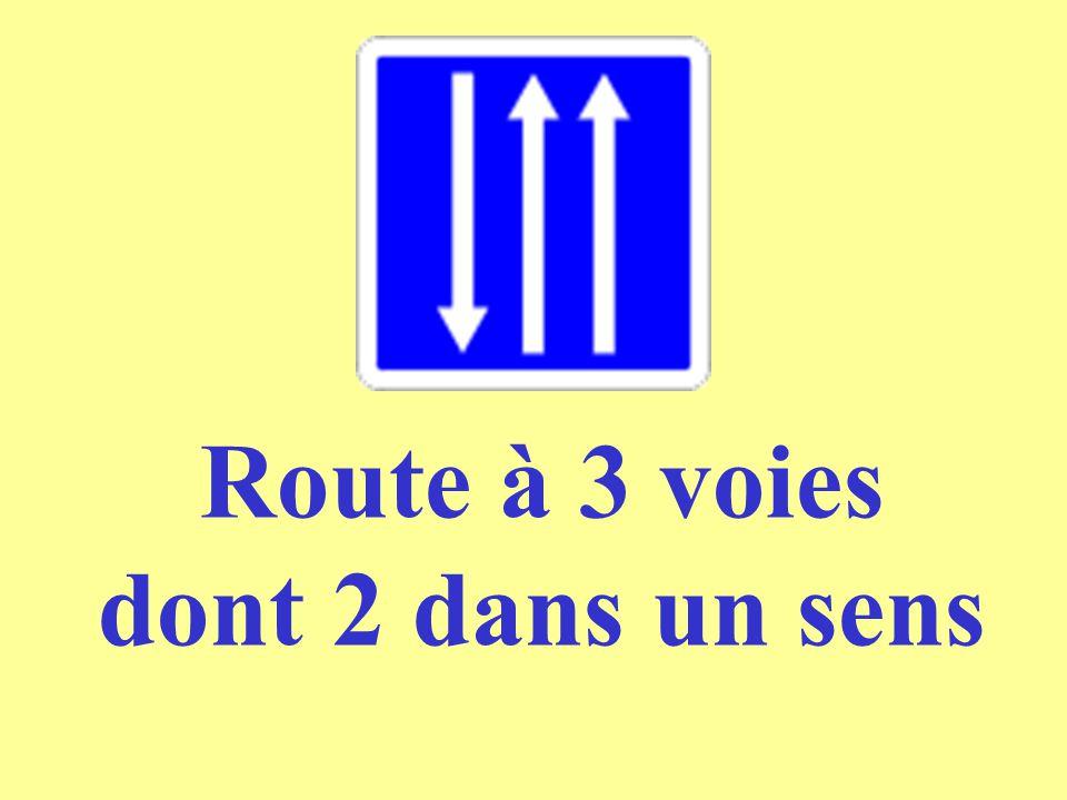 Route à 3 voies dont 2 dans un sens