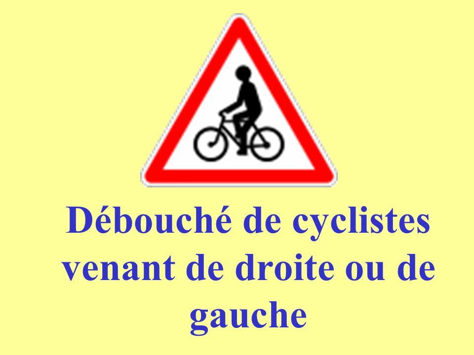 Débouché de cyclistes venant de droite ou de gauche