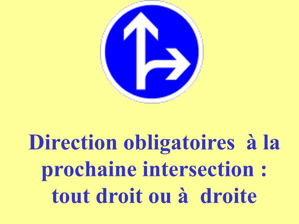 Direction obligatoires à la prochaine intersection : tout droit ou à droite