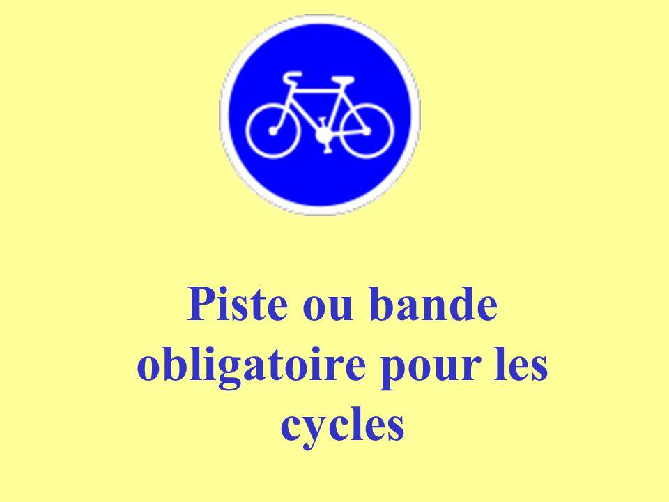 Piste ou bande obligatoire pour les cycles