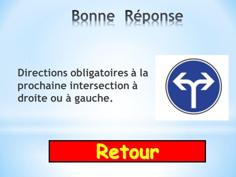 Bonne Réponse Directions obligatoires à la prochaine intersection à droite ou à gauche. Retour