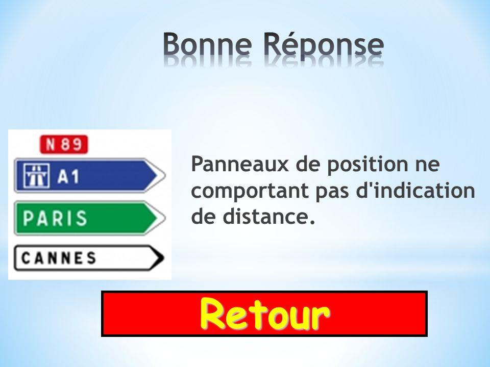 Bonne Réponse Panneaux de position ne comportant pas d indication de distance. Retour