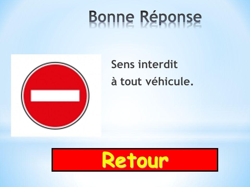 Bonne Réponse Sens interdit à tout véhicule. Retour