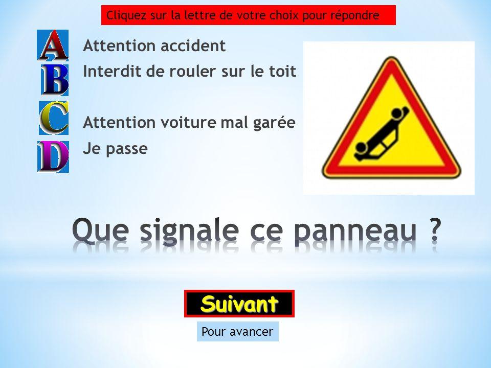 Que signale ce panneau Suivant Attention accident