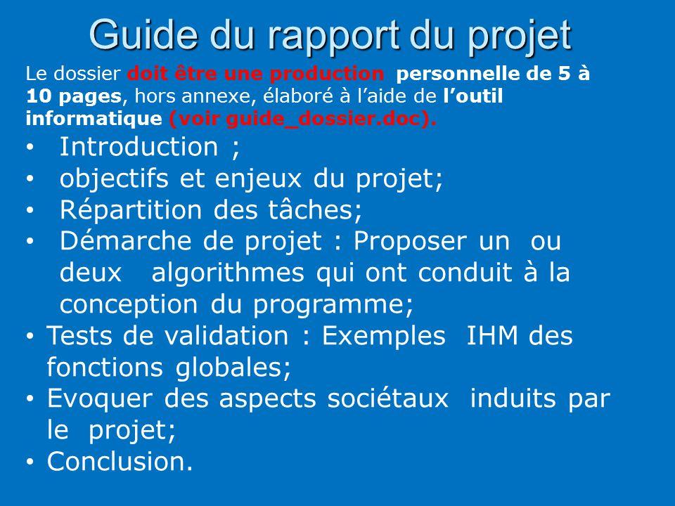 Guide du rapport du projet