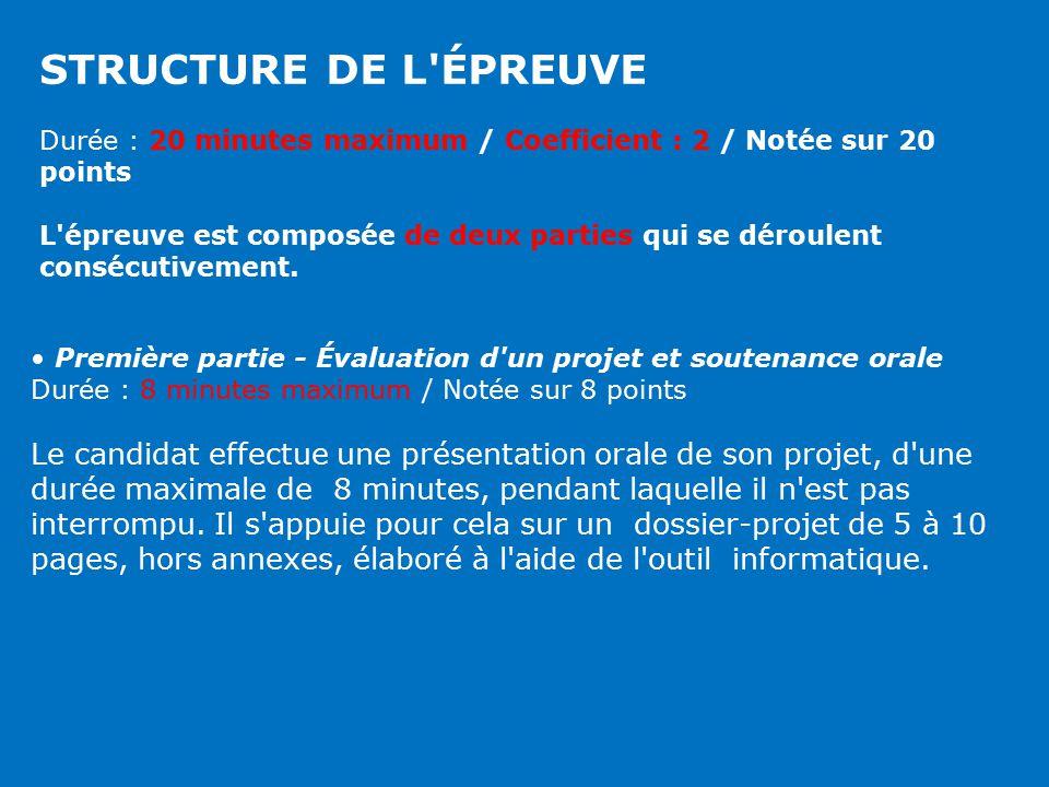 STRUCTURE DE L ÉPREUVE Durée : 20 minutes maximum / Coefficient : 2 / Notée sur 20 points.