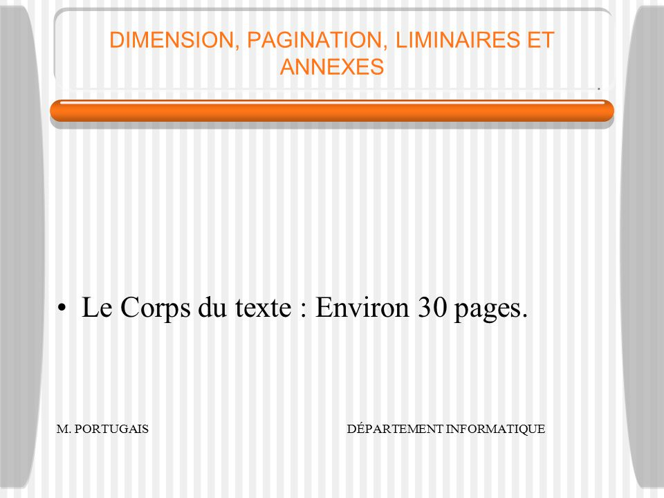 DIMENSION, PAGINATION, LIMINAIRES ET ANNEXES