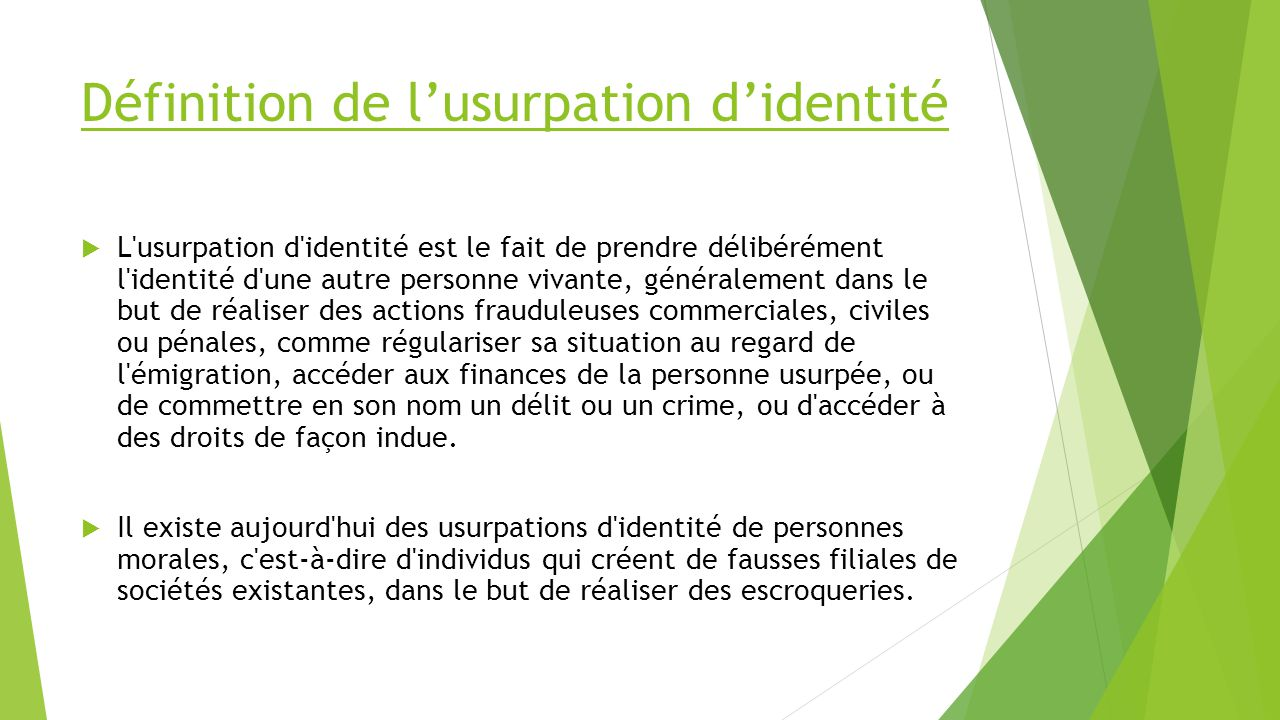 L usurpation d identit ppt video online t l charger for Definition delit