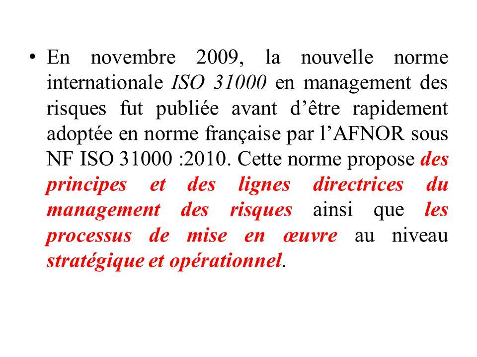 En novembre 2009, la nouvelle norme internationale ISO 31000 en management des risques fut publiée avant d'être rapidement adoptée en norme française par l'AFNOR sous NF ISO 31000 :2010.