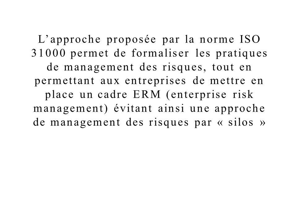 L'approche proposée par la norme ISO 31000 permet de formaliser les pratiques de management des risques, tout en permettant aux entreprises de mettre en place un cadre ERM (enterprise risk management) évitant ainsi une approche de management des risques par « silos »