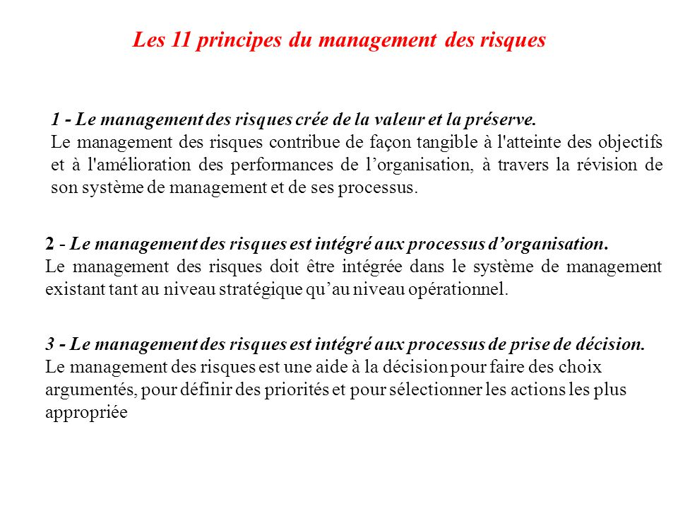 Les 11 principes du management des risques